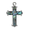 Pendant Sea Opal Cross Large Silver